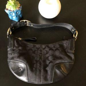 Coach Vintage Black Jacquard Leather Trim Hobo Bag